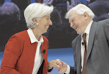 nternational Monetary Fund Managing Director Christine Lagarde (L) and Sir David Attenborough (R) have a conversation on Balancing Nature and the Global Economy, at IMF Headquarters during the 2019 IMF/World Bank Spring Meetings April 11, 2019 in Washington, DC. IMF Staff Photograph/Stephen Jaffe